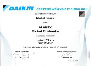 Daikin autoryzacja na montaż systemów VRV